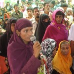 A woman leader delivering speech in UP budget meeting